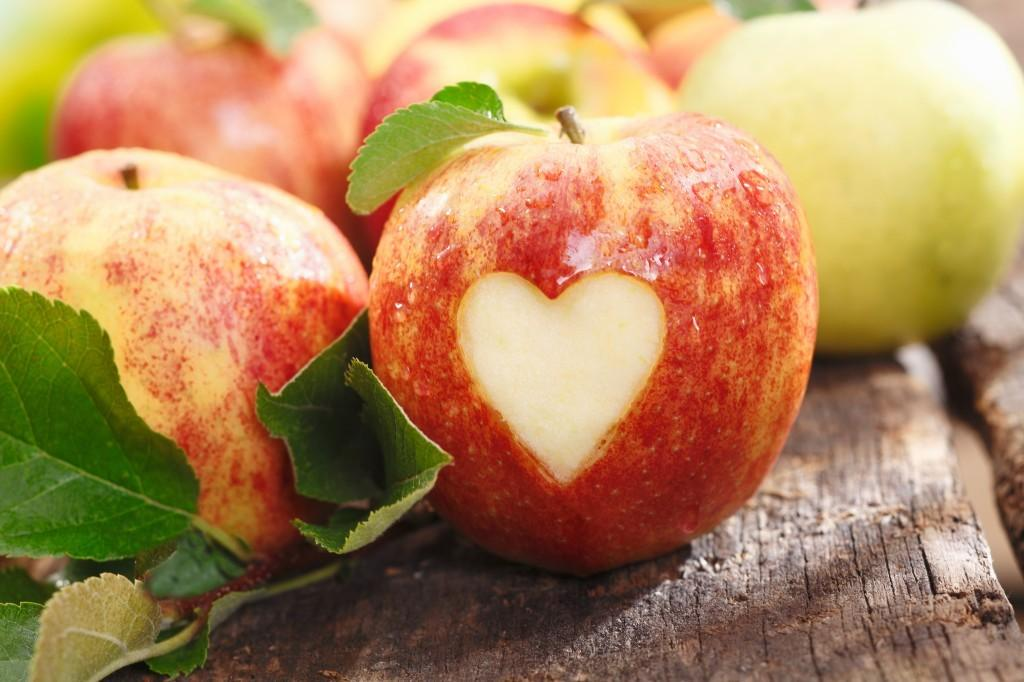 apple skin carved with a heart image