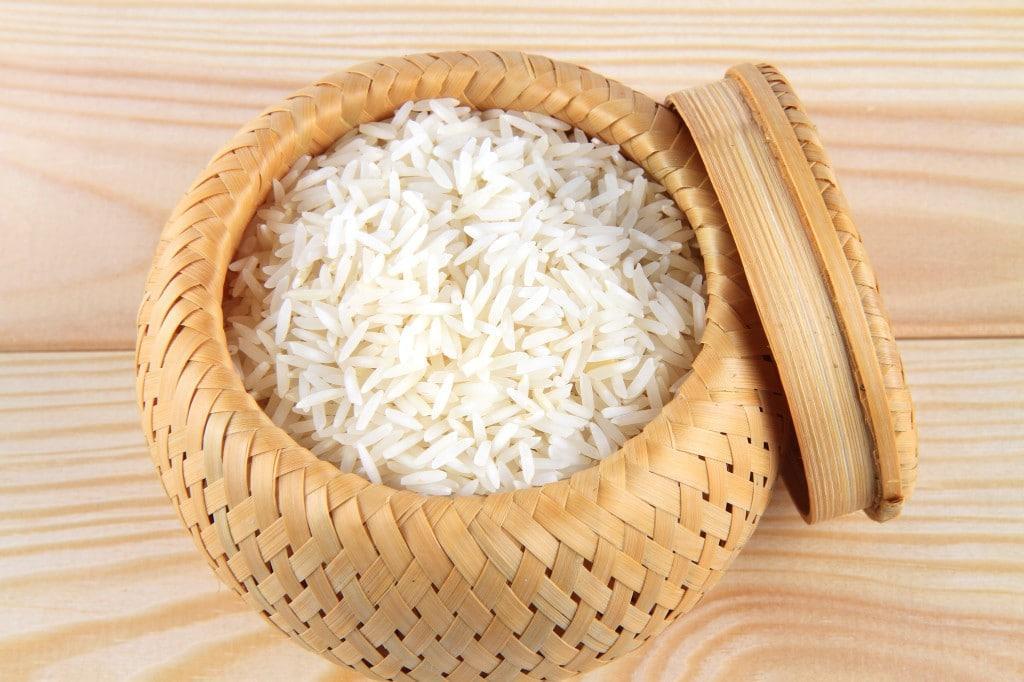 kitchari white rice in bamboo basket image