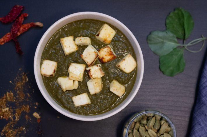 A bowl of saag paneer