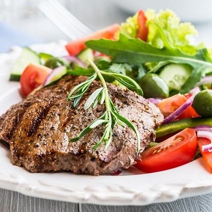 protein deficiency Grilled Beef Steak with Vegetable Salad image
