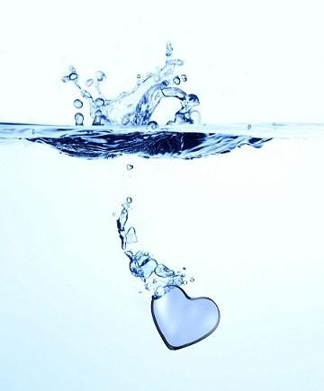 heartburn, heart dropping into water image