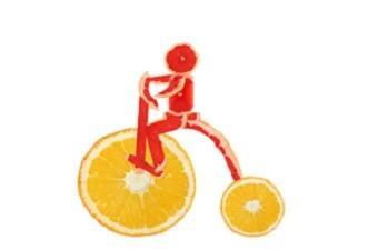 LifeSpa Image, Grapefruit Man Riding Orange Bike