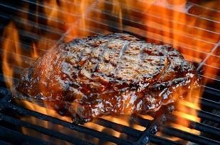 lifespa image, Steak on flaming grill