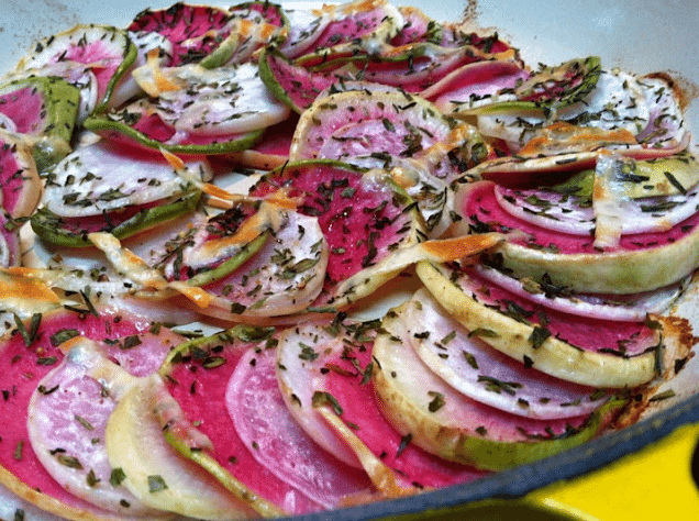 Tarragon, Turnip and Watermelon Radish Gratin