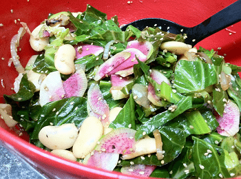 Sesame Butter Bean and Watermelon Radish Salad