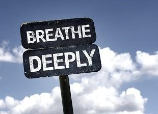 lifespa image, Breathe Deeply sign with clouds and sky background