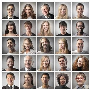lifespa image, faces of different people in squares