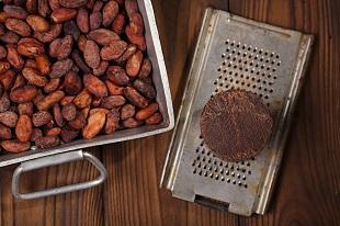 lifespa image, chocolate, roasted cocoa beans and presscake