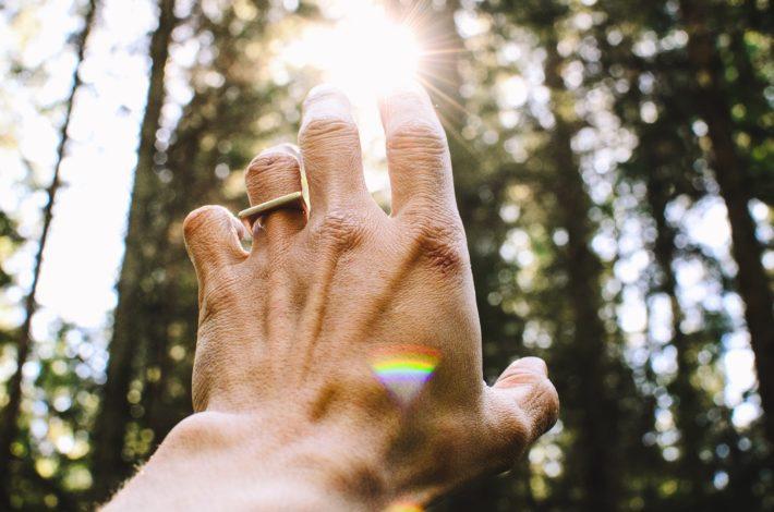 Hand reaching toward the light