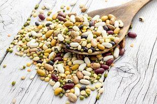 lifespa image, beans, mixed pulses on wooden table