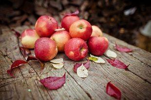 lifespa image, red apples on wooden table with fall leaves