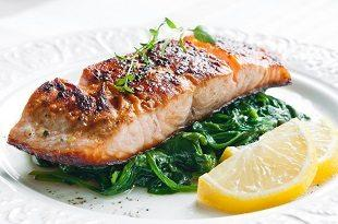 lifespa image, cooked salmon with spinach and lemons