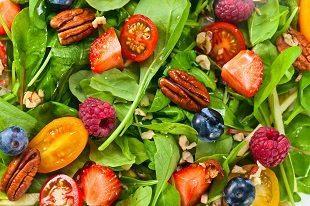 lifespa image, raw food, spinach salad with nuts and fruit