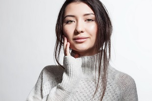 lifespa image, winter complexion, young woman with nice skin wearing a winter sweater