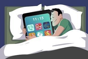 lifespa image, melatonin, when you sleep, man sleeping with giant smartphone
