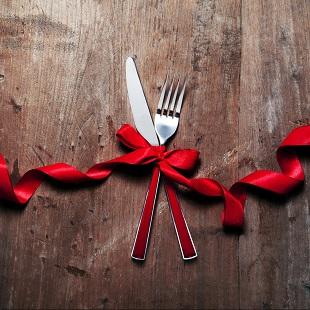lifespa image, winter wellness, wooden table, silverware, winter, red ribbon