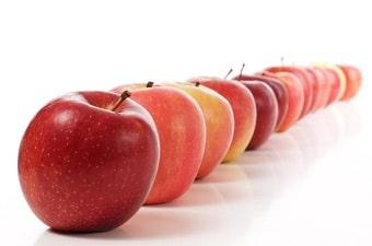 lifespa image, foods with quercetin, long row of apples