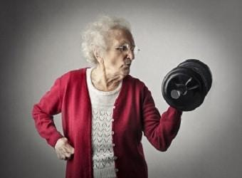 lifespa image, weight training, elderly woman lifting dumbbell