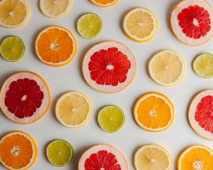 Citrus slices on whilte