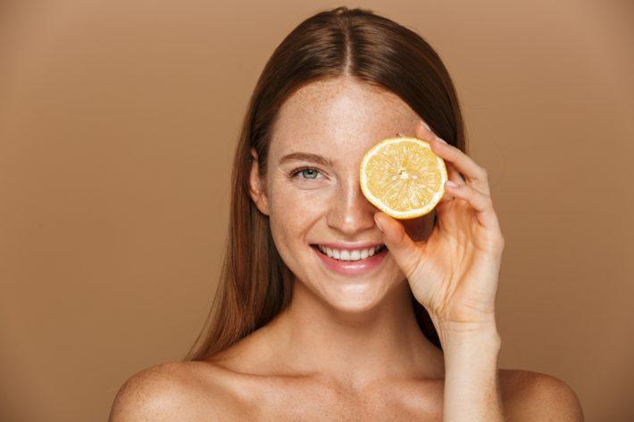 woman lemon beauty
