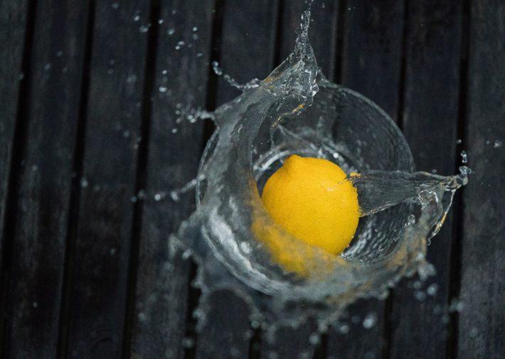 lemon in glass of water