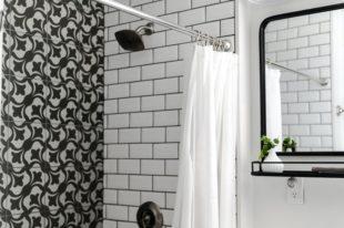 Modern black and white shower.