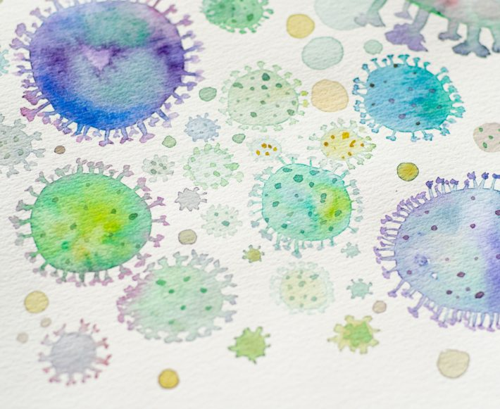 A drawing of bacteria and viruses